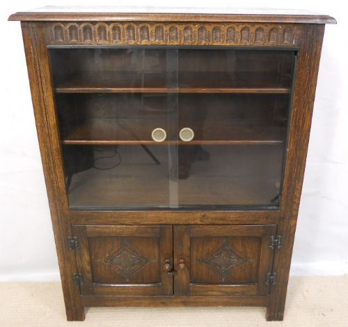 Oak Jacobean Style Reproduction Standing Bookcase Cabinet